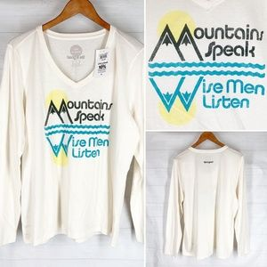 Life is Good Top L Ivory Mountains Speak NEW
